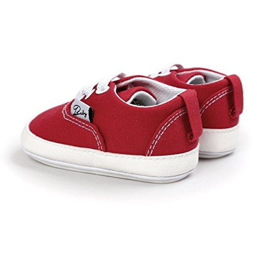 Itaar bebé lienzo zapatillas deportivas antideslizante suela de goma sandalias zapatos con encaje elástico para Infant Toddler niños y niñas primer Walking rosa rosa Talla:0-6 meses rosso