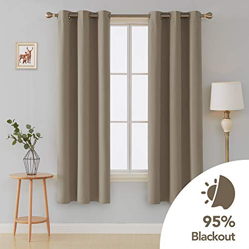 (Deconovo Room Darkening Thermal Insulated Blackout Grommet Window Curtains Panels for Bedroom 1 Pair Taupe 42x84-Inch)
