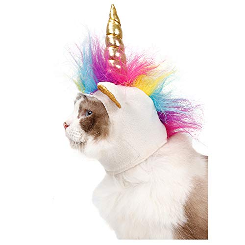 Delifur Dog Costume Pet Unicorn Hat for Cats and Small Dogs Puppy Accessory for Halloween Cosplay Mane -