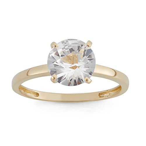 Class Ring 10k (Celebration Moments Created White Sapphire Round Shape Ring in 10K Yellow Gold, 8mm - Size 7)