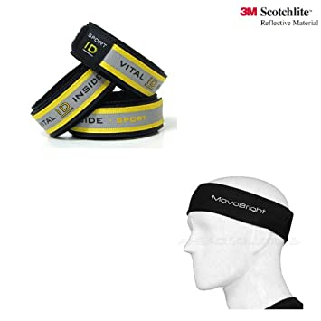 Runners Gift Set Vital ID Reflective Sport Identity Wristband And MovoBright Headband Sweatband