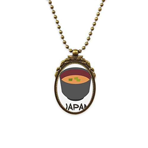 DIYthinker Traditional Japanese Tasty Miso Soup Antique Brass Necklace Vintage Pendant Jewelry Deluxe Gift