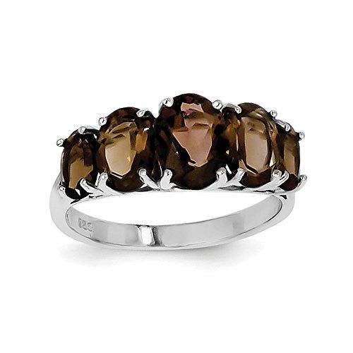 925 Sterling Silver Rhodium Smoky Quartz Ring (Chain Smoky Quartz Ring)