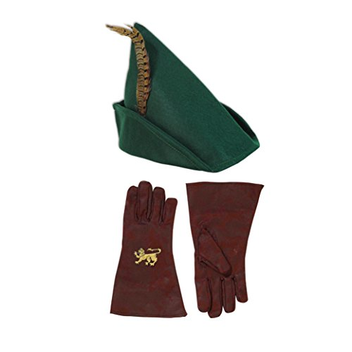 Be Blessed Enterprises Robin Hood Hat and Gloves Costume Accessories, Green, Brown]()