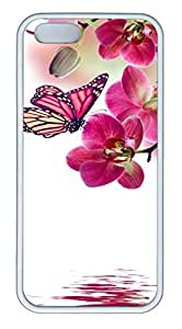 Brian114 iPhone 5S Case - Butterfly Orchid And Butterfly Back Case Cover for iPhone 5 5S Soft Rubber White Cases