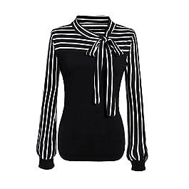 Toamen Women's Fashion Shirt Top, Women Girls Tie-Bow Neck Striped Long Sleeve Splicing Shirt Blouse