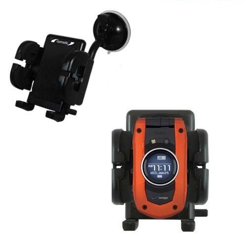 Windshield Vehicle Mount Cradle suitable for the Verizon Wireless GzOne Boulder - Flexible Gooseneck Holder with Suction Cup for Car / Auto. ()