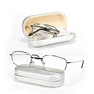 One Stop Discount Shop- Spring Hinge Metal Folding Reading Glasses Reader Easy Care Women Men Hard Case