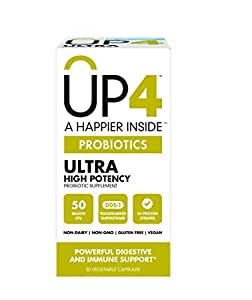 UP4 Ultra Probiotic Supplement | 50 Billion CFU | Powerful Digestive and Immune Support | 30 Count