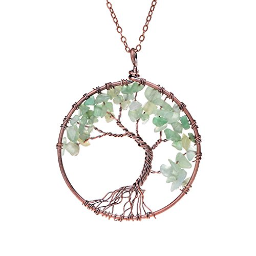 Wire Wrapped Family Root Tree of Life Crystal Birthstone Pendant Necklace Semi Precious Natural Raw Green Aventurine Birth Stone Pendant Healing Crystal Jewelry Necklace Circle Of Love Pendant Necklace