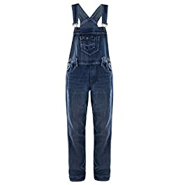 Anna-Kaci Womens Vintage Wash Straight Leg Denim Overalls with Pocket Bib