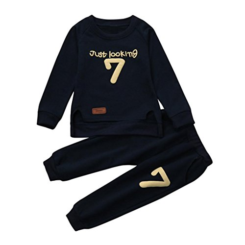Baby Winter Autumn Clothes MITIY Toddler Baby Boy Girl Just Looking PrintPullover Tops Sweatshirt with Pocket+Pants (Navy, 18M) ()