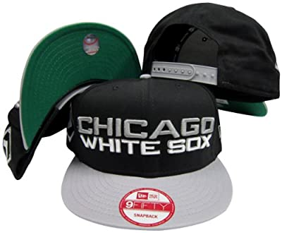 Chicago White Sox Black / Grey Two Tone Plastic Snapback Adjustable Plastic Snap Back Hat / Cap
