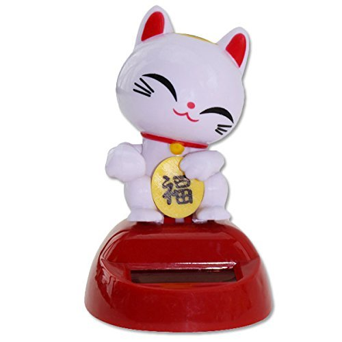 Eco-Friendly Solar Toy Smiling Happy Face White Japanese Lucky Good Fortune Kitty Cat Decor -