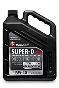 Kendall 1056016 Super-D XA Premium Synthetic Blend 15W-40 Diesel Engine Oil with Liquid Titanium - 1 Gallon Jug (Case of 4)