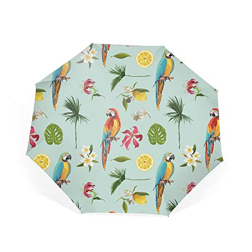 Parrot Bird And Tropical Flowers Compact Travel Umbrella with Windproof Double Canopy Construction Auto Open/Close Button