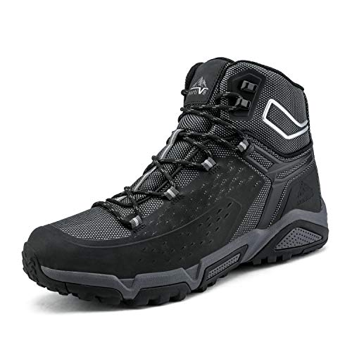 NORTIV 8 Men's Waterproof Hiking Boots Outdoor Mid Trekking Backpacking Mountaineering Shoes JS19006M Black Size 8 M US