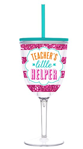 Teacher Gift - Teacher's Little Helper 13 Oz. Double Wall Insulated Wine Cup Tumbler with Lid and Straw
