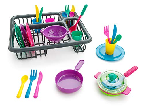 Playkidz: Super Durable Kids Play Dishes - Pretend Play Childrens Dish Set - 27 Piece with Drainer ()