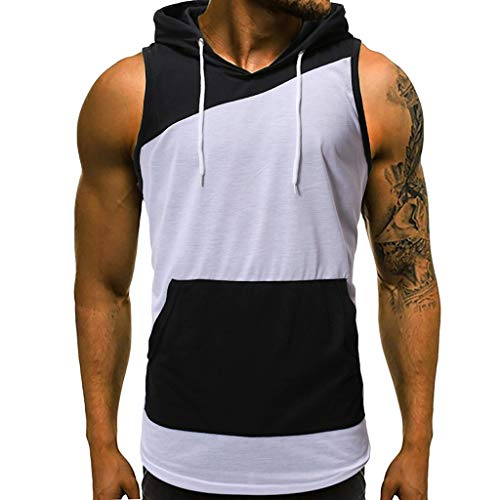 - Nevera Men Patchwork Hooded Tank Tops Bodybuilding Muscle Cut Off T Shirt Sleeveless Gym Hoodies Black