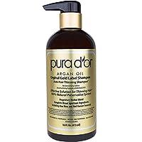 PURA D'OR Champú anticoagulante original Gold Label probado clínicamente, infundido con aceite de argán, biotina e ingredientes naturales, sin sulfato, todos los tipos de cabello, hombres y mujeres, 16 fl oz (el empaque puede variar)