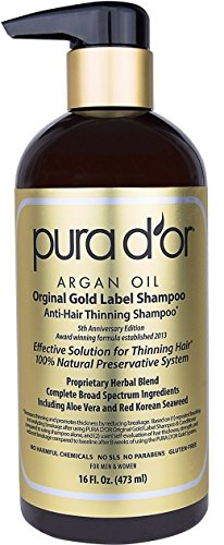 PURA D'OR Original Gold Label Anti-Thinning Shampoo Clinically Tested, Infused with Organic Argan Oil, Biotin & Natural Ingredients, for All Hair Types, Men and Women, 16 Fl Oz (Packaging may vary)