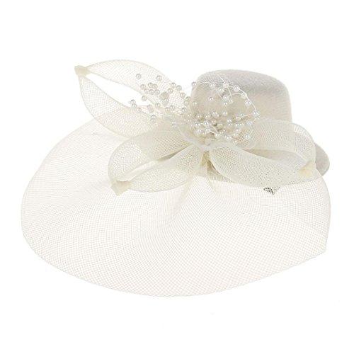 - Unpara Romantic Fascinators Hat Flower Mesh Ribbons Feathers Wedding Decoration Headband Party Headwear for Girls and Women (Beige)