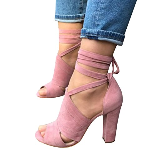 Runcati Womens Ankle Wrap Chunky Block Heels Peep Toe Pumps Lace up Strappy Suede High Heeled Sandals ()