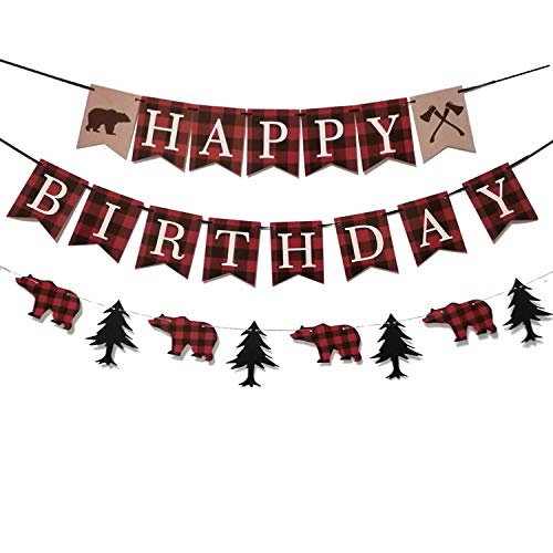 Lumberjack Birthday Party Banner,Lumberjack 1st | Buffalo Plaid | Camping Birthday Party Decorations,Happy Birthday & Woodland Bear Banner