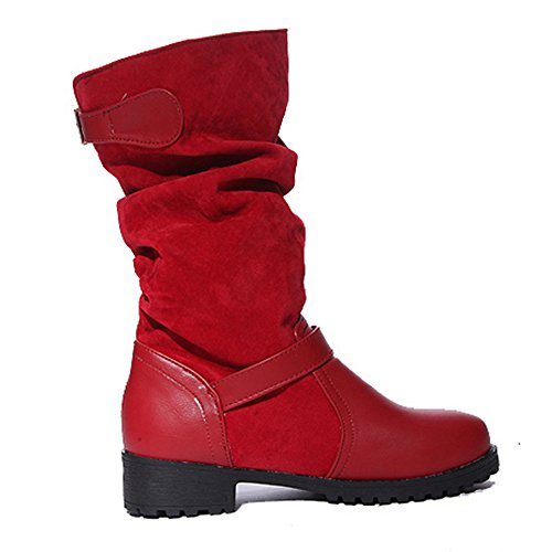 COOLCEPT Damen Bequeme Niedrige Pull On Slouch Stiefel Mid Calf with Schnalle Red