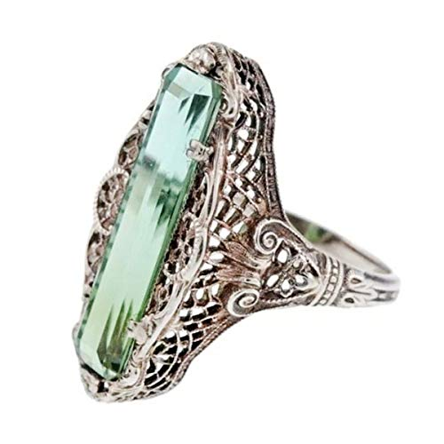 Fealay Hollow-Out Emerald Topaz Vintage Carved Patterned Women Ring Size 6-10 (Size : 8) ()