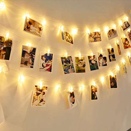GreenClick Photo String Lights, LED String Lights Indoor 20 LEDs Clips Holder,Battery-Operated, 8 Modes Remote Hanging Photos Pictures Cards for Bedroom Christmas Party Decoration