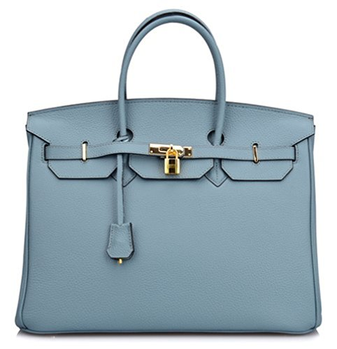 35 Birkin Bag - Bequeen Womens New Designer Litchi Pattern Full Grain Leather Handbags Office Handbags (Big (35cm), Grey blue)