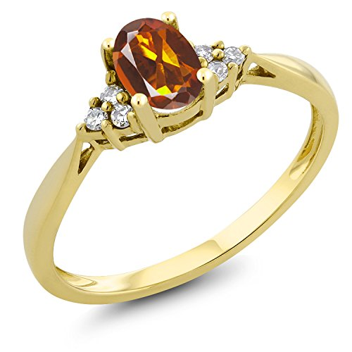 - 0.40 Ct Oval Orange Red Madeira Citrine and Diamond 14K Yellow Gold Ring (Size 9)