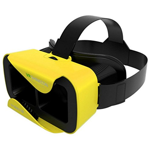 "3D Virtual Reality Headset Glasses VR Shinecon 3 .0 Video Movie Game Oculus Rift Glasses for 4.7""- 6.0"" IOS Android Smartphones iPhone Samsung HTC Sony Caidishi (Yellow)"