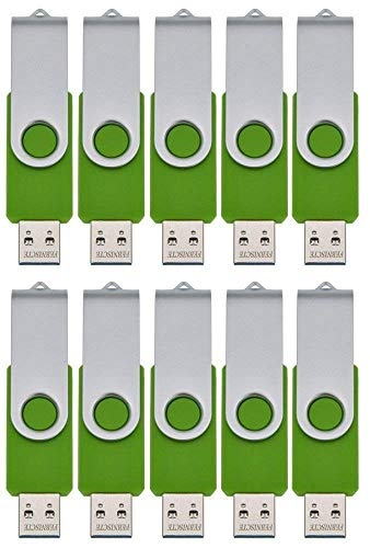 Thumb Drives 10 Pack 16GB USB 2.0 Flash Drive - Multipack Memory Sticks Swivel Portable Pendrive - Green Zip Drive Data Stick Pen Drive - Jump Drive U Disk with Led Indicator by FEBNISCTE
