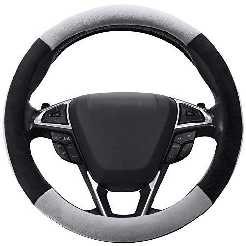 (SEG Direct Gray Plush Winter Auto Car Steering Wheel Cover Universal 15 inch)