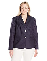 Nine West womens plus-size Plus Size 2 Button Notch Collar Polished Denim Jacket