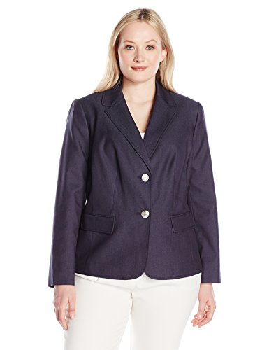 Nine West Women's Plus Size 2 Button Notch Collar Polished Denim Jacket, Navy, 22W