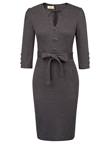 GRACE KARIN Women Knee Length Workwear Sheath Dress M Dark Grey