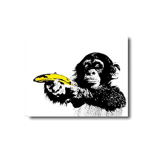 Wall Art Framed Oil Paintings Printed on Canvas for Home Decorations Home Decor Modern Artwork Hanging for Living Room Bedroom, Ready to Hang-Monkey Holding Banana Just Shoot Banana Gun ()