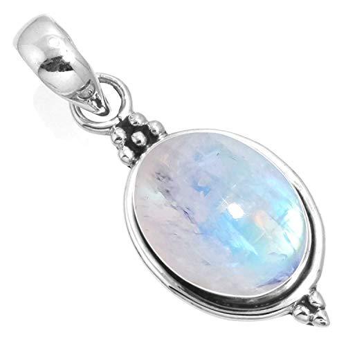 (Natural Rainbow Moonstone Pendant 925 Sterling Silver Handmade Jewelry)