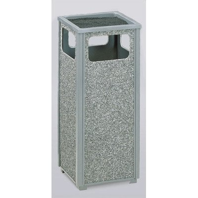- 12-Gal Aspen Sand Top Ash/Trash Receptacle [Set of 2] Color/Finish: Gray/Dove Gray Stone Panels, Urn Type: Weather Urn