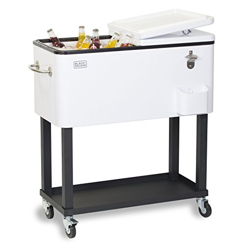 BLACK+DECKER Mobile Cooler Cart, Two Door Seal Lid, Bottle Opener with Catch Basin, Bottom Storage Tray, 4 Rolling Wheels, White, (Stainless Steel Rolling Cooler)