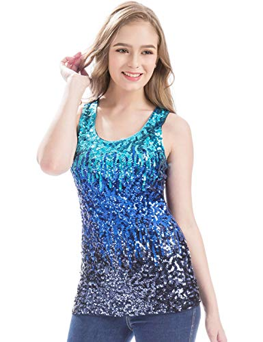 MANER Womens Sparkle Gradient Sequin Embellished Tank Top Sleeveless Round Neck (Sky Blue/Royal Blue/Navy Blue, XS)