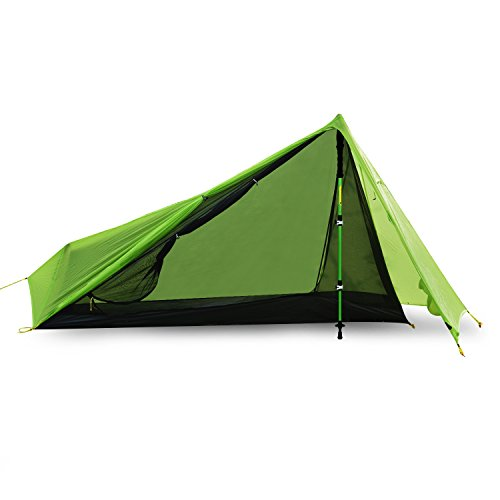 Andake Ultralight Tent Waterproof 1 Person Camping Tent/Backpacking Tent, Double-Sided Silicone-Coated 15D Nylon Ripstop Fabric with Carry Bag, Compact and Portable for Climbing, Hiking and Travel