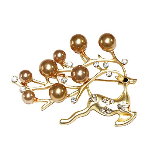 - Shinywear Cute Crystal Running Sika Deer Brooches for Kids Girls Decorated Beads Pearl Antler Lapel Collar Pin Brooch for Hat Bag Scarf Clip Gold