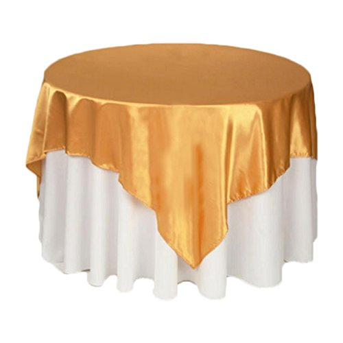 Square Satin Overlays Toppers Tablecloth Table Cover Linens for Banquet Wedding Party Home Decor,57 x 57-Inch (Gold) ()