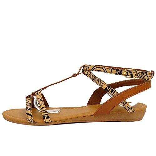 Damen Hellbraun Flach Bequem Sandalen Flip Flop Schuhe T-Riemen Sommer Strand Pumps Größen 3-8