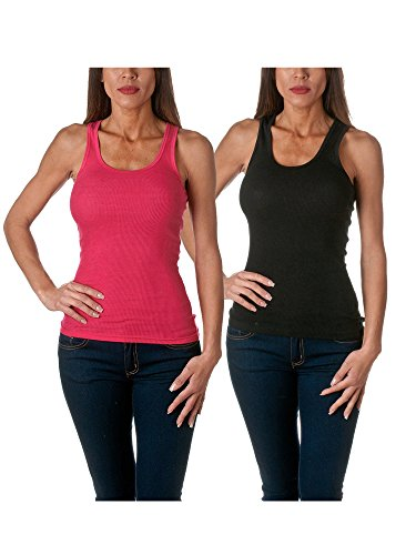 Sofra Women's Tank Top Cotton Ribbed 2 Pack Deal(Black/Fuchsia-L) ()